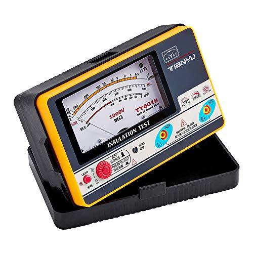 ELIKE Insulation Resistance Tester Megohm Meter Rated Test Voltage 1000V AC 500V, Dark Gray With Orange