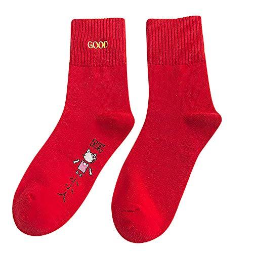 ZZBO Winter-Frauen-Warmes Damen Socken 100% Baumwolle Rot Mode Weihnachtsgeschenk Socks,Mittlere Strümpfe,Lange Haltbarkeit Dank Bester Qualität