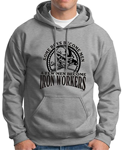 Created Equal, Some Boys Become Men Iron Workers Premium Hoodie Sweatshirt XL Light Steel
