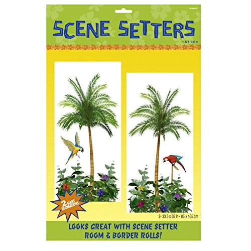 NET TOYS Décoration de Mur Hawai Palmier Poster 2 pièces Image Murale Île Affiche Aloha Thème Soirée Déco de Salle