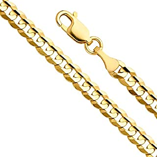 14k Yellow Gold Solid Men's 9.5mm Cuban Concave Curb Chain Necklace with Lobster Claw Clasp