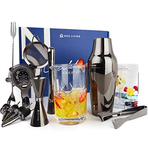 13 Piece Black Bar Set Cocktail Shaker Set with Mixing Glass - Premium Mixology Bartender Kit and Cocktail Set for Drink Mixing - Perfect Bar Kit for Home with Drink Shaker, Bar Tools & Recipe Book