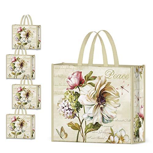 NymphFable 4 Pcs Bolsa Compra Reutilizables Ecológicas Peonía Flores Bolsas para Comestibles Plegable Tote Bag Grande