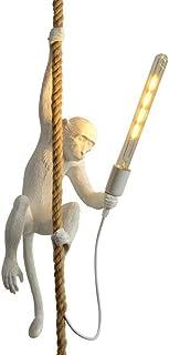 Best CHABEI Loft Vintage Resin Hemp Rope Monkey Pendant Light Fixture Chandelier Industrial Retro E26 Edison Ceiling Pendant Lamp for Dining Living Room Bedroom Bar Cafe (White) Reviews