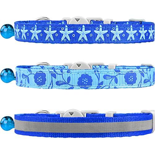 TagME 3er Pack Schnellverschluss Katzenhalsband Gemischtem Muster mit Glocke und Sicherheitsverschluss,Verstellbar 18-25cm, Blau