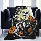Rustic Fleece Bed Blankets Jack Skeleton Zero Ghost-Dog Pumpkin Tattoo Designs Wedding Throw Blankets Lightweight Super Soft Game Blanket for Adult Office Airplane
