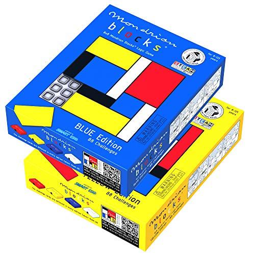 Mondrian Blocks Duo Pack, Juegos de Rompecabezas premiados, Juegos de Viaje compactos a Bordo, Azul y Amarillo