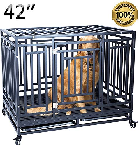 petgroomingtable Heavy Duty Dog Crate Cage Strong Metal Kennel for Large Dogs, Easy to Assemble with Four Wheels, 41''/ Black Basic Crates