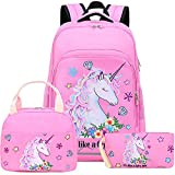 Girls Backpack for Kids Elementary Bookbag Girly School Bag with Insulated Lunch Tote...