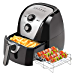 Secura Electric Hot Air Fryer Extra Large Capacity Air Fryer and additional accessories; Recipes and skewers accessory set (5.3Qt Sliver) (Renewed)