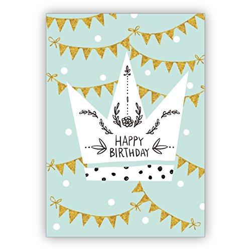 1 prachtige, turquoise verjaardagskaart met kroon en slingers: Happy Birthday • om verjaardag te feliciteren met envelop zakelijk & privé