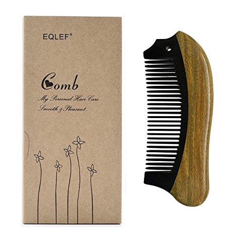 EQLEF, pettine in legno di sandalo e corno, fatto a mano