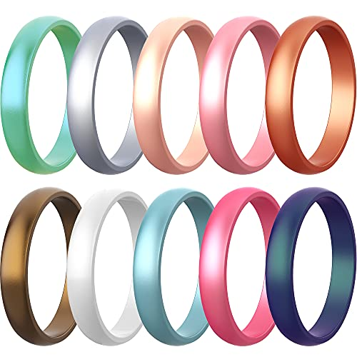 Zollen 10 Packs Silicone Rings for Women, 5.5 MM Metallic Colors Rubber Wedding Bands Stackable Ring, Size 7