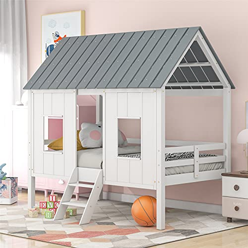 House Bed Frame Low Loft Wood Twin Size Bed Frame with Two Side Windows and Roof Kids Bedroom Furniture (White with Gray, Low loft Bed)