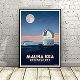 WSHIYI Vintage Mauna Kea Lienzo Pintura Pared Arte impresión Cartel Imagen Moderna Minimalista Dormitorio Sala de Estar decoración-50x70 cm sin Marco
