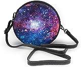 BAODANLA Bolso redondo mujer Bright Galaxy Women Soft Leather Round Shoulder Bag Zipper Circle Purses Sling Bag