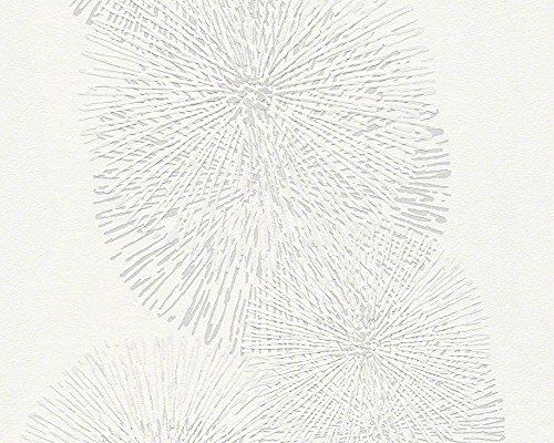 Schöner Wohnen Vliestapete, Mustertapete, floral, signalweiß, silberfarben, 943591