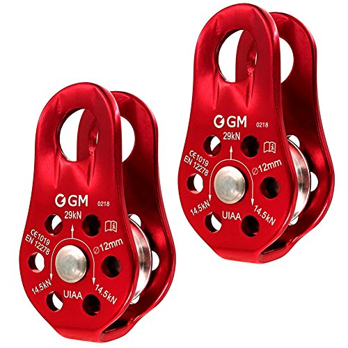 GM CLIMBING Pack of 2 29kN CE UIAA Certified Micro Pulley Slack Tender for Hitch Tending