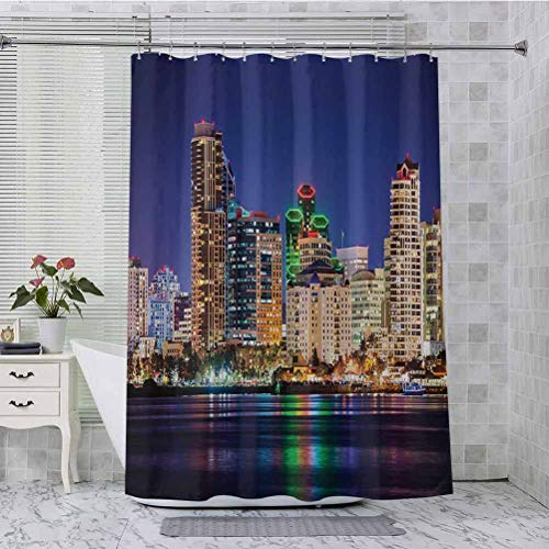 Shower Curtain Set, Colorful Skyline San Diego at Night North San Diego Bay Boats Architecture Urban Picture, 72' x 72' Cloth Bath Curtain with 12 Hooks, Navy