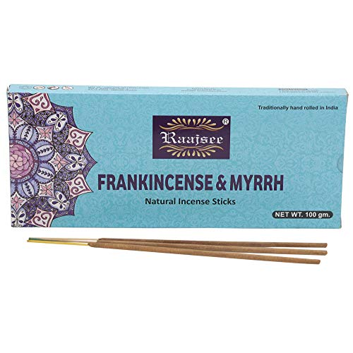 Raajsee Frankincense-Räucherstäbchen, 100 g Packung, 100% natürlich, handgerollt, frei von Chemikalien, perfekt für Kirche, Aromatherapie, Entspannung, Meditation, Positivität und sinnliche Therapie