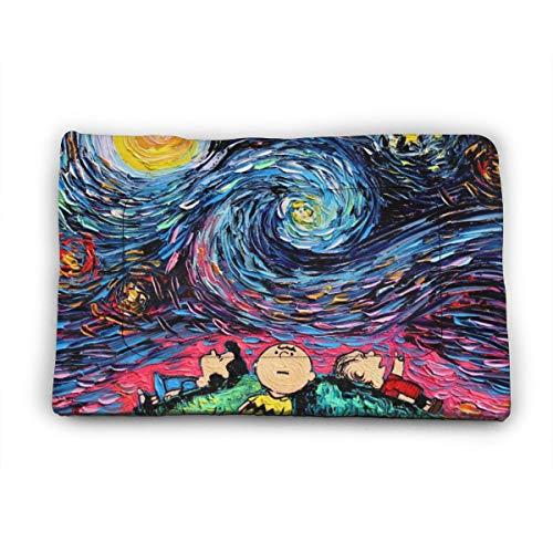 KANKANHAHA Aja Kusick The Starry Night Snoopy Hundebett Matte Weiche Kiste Pad Waschbar Anti-Rutsch-Matratze für Hunde und Katzen Hundehütte Pad