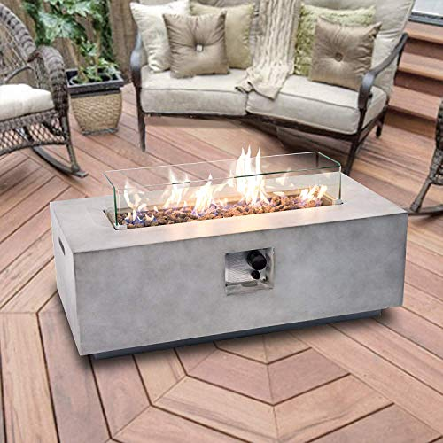 Peaktop Firepit Outdoor Gas Fire Pit Stone with Lava Rock & Cover HF42708AA-UK, Light Grey