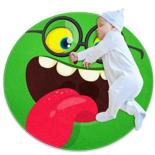 Tappeto rotondo morbido 70x70cm/27.6x27.6IN Tappetino antiscivolo per tappetini circolari in spugna di memoria assorbente in piedi,Occhiali da vista del mostro del fumetto che mostrano la lingua