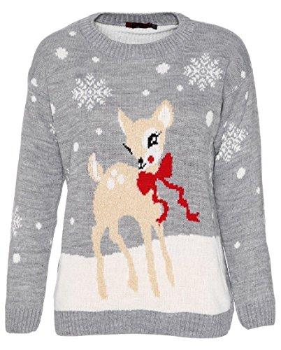 Crazy Girls Red Olives® dam baby ren jul jumper barn unisex bambu hjort jul stickad topp 7/8 år - M/L