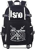 Roffatide Anime Sword Art Online Backpack Luminous School Bag SAO Laptop Backpack with USB Charging Port & Headphone Port