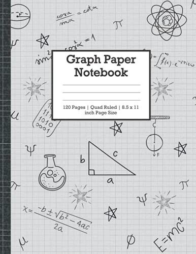 """Graph Paper Notebook: Quad Ruled, 120 Pages, Large (8.5"""" x 11"""") Math and Science, Grid Paper Composition Notebook for Students at College, High ... School, Elementary (Graph paper notebooks)"""