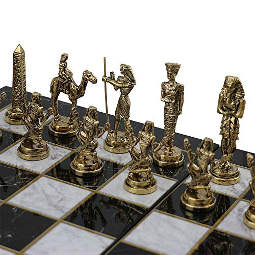 GiftHome (sólo piezas de ajedrez) Históricas hechas a mano egipcio faraón figuras de ajedrez de metal tamaño mediano King 3.5 Inc (tabla no está incluida)