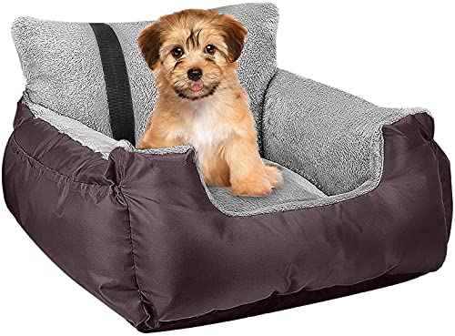 Dog Car Bed,Puppy Booster Seat Dog Travel Car Carrier Bed with Storage Pocket and Clip-on Safety Leash Removable Washable Cover for Small Dog