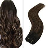 JoYoung Balayage Weft Hair Extensions Remy Ombre Natural Black Mixed with Medium Brown Silk Straight Sew in Hair Extensions Human Hair Bundles 100g 18inch