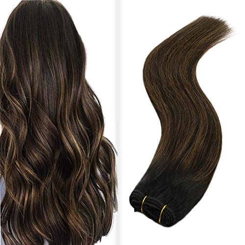 JoYoung Balayage Weft Hair Extensions Remy Ombre Natural Black Mixed with Medium Brown Silk Straight Sew in Hair Extensions Human Hair Bundles 100g 16inch