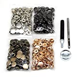 120 Set Leather Snap Fasteners Kit, 10/12.5/15mm Metal Button Snaps Press Studs with 4 Setter Tools, 4 Color Leather Snaps for Clothes, Jackets, Jeans Wears, Bracelets, Bags (10mm(655#))