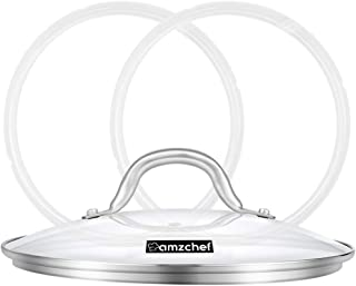 9 inch Tempered Glass Lid for Instant Pot 6qt Electric Pressure Cookers and 9 inch cookwares, Sealing Rings for Instant Pot 5 qt or 6 qt (2 Pack), Universal Lid with Stainless Steel Handle and Rim