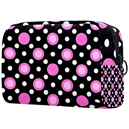 Trousse de Maquillage Organisation Rangement Cosmétique Portable Texture Rose Blanche Noire Polka Pois pour Les Voyages Plein air