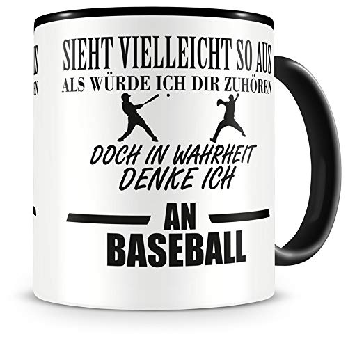 Samunshi® Ich denke an Baseball Tasse Kaffeetasse Teetasse Kaffeepott Kaffeebecher Becher