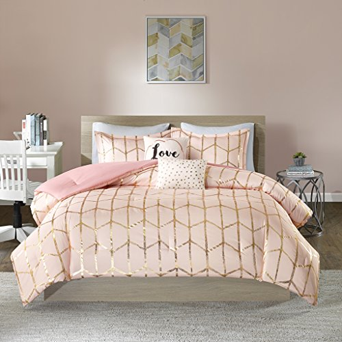 Intelligent Design Raina Comforter Set Full/Queen Size - Blush Gold, Geometric - 5 Piece Bed Sets - Ultra Soft Microfiber Teen Bedding for Girls Bedroom