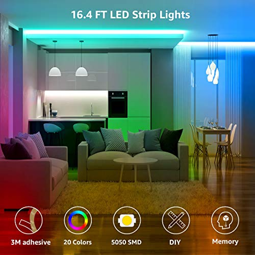 LED Strip Lights 16.4ft, RGB LED Light Strip, 5050 SMD LED Color Changing Tape Light with 44 Key Remote and 12V Power Supply, LED Lights for Bedroom, Home Decoration, TV Backlight, Kitchen, Bar 2