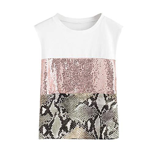 Darringls Top T Shirt Donna Manica Corta Estate Magliette Top con Camicetta Casual da Donna con Paillettes Senza Maniche con Stampa Leopardata