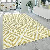Alfombra Salón Pelo Corto Moderna Motivo Geométrico Étnico Amarillo Blanco, tamaño:70x250 cm
