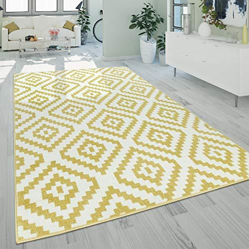 Alfombra Salón Pelo Corto Moderna Motivo Geométrico Étnico Amarillo Blanco, tamaño:120x170 cm