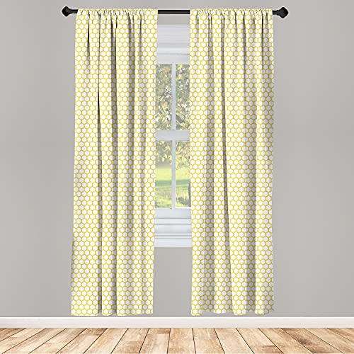 """Ambesonne Yellow and White Curtains, Hexagonal Pattern Honeycomb Beehive Simplistic Geometrical Monochrome, Window Treatments 2 Panel Set for Living Room Bedroom Decor, 56"""" x 63"""", Yellow White"""