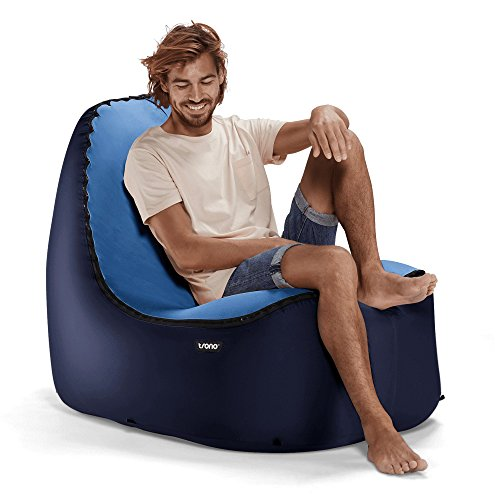 TRONO Aufblasbarer Loungesessel Sitzsack Camping Outdoor Stuhl Luftsessel Sofa Airchair blau