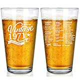 Vintage 1971 Old Time Information 50th Birthday Gifts for Men Women Beer Glass – Funny 50 Year Old Presents - 16 oz Pint Glasses Party Decorations Supplies-50 Year Old Birthday Party Decorations