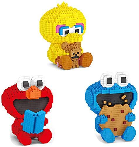 3 Unids Sesames Street Figuras Bloques De Construcción Micro Diamond Elmo Cookie Monster Big Bird Bronc Block Juguetes para Un Regalo