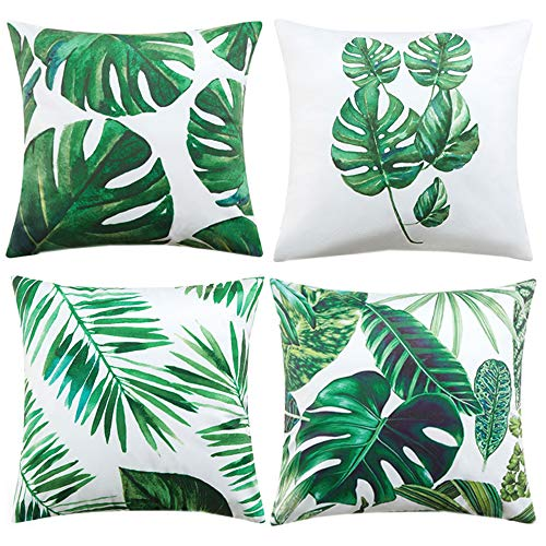 Anickal Tropical Leaves Decorations Set of 4 Soft Velvet Decorative Pillow Covers 18 x 18 with Tropical Palm Monstera Leaves Print for Summer Green Decor