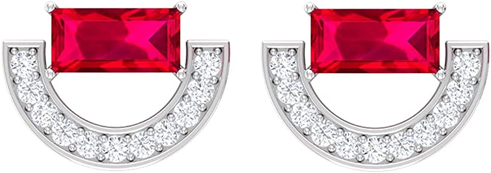 3/4 CT Minimal Crescent Stud Earrings with Baguette Ruby and Diamonds (AAA Quality), Screw back