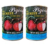 Pigeon Whole Lychees in Heavy Syrup (2 Pack, Total of 40oz)